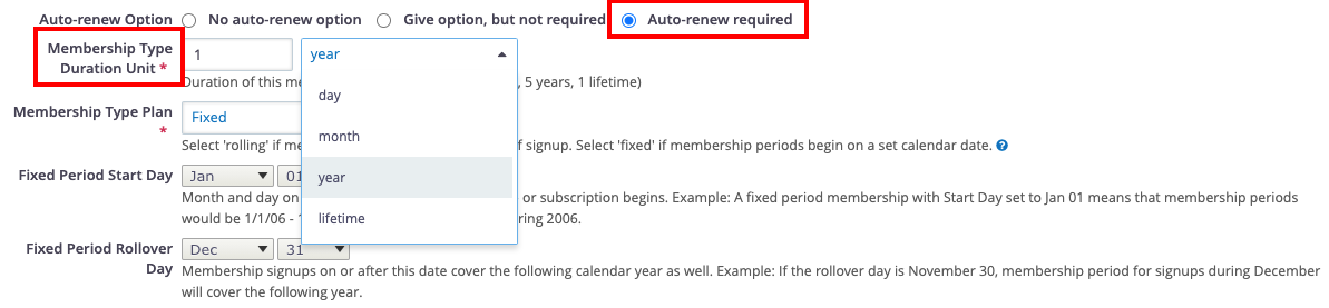 CiviCRM Membership Type Auto-Renew Settings